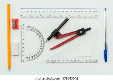 Geometry set with compass, ruler and protractor