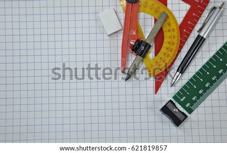 geometry set on graph paper science stock photo edit now 621819857