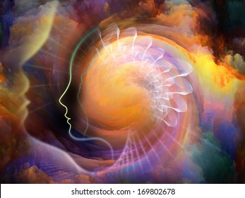 Geometry of the Soul series two. Abstract design made of human profile and abstract elements on the subject of spirituality, science, creativity and human mind
