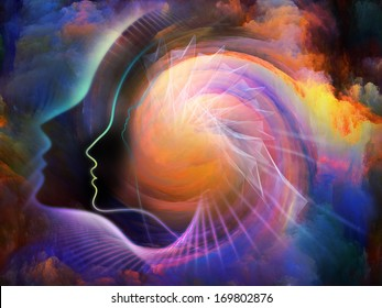Geometry of the Soul series two. Interplay of human profile and abstract elements on the subject of spirituality, science, creativity and human mind