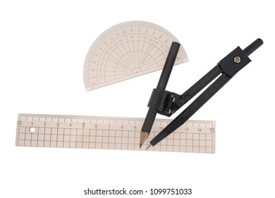 Geometry, technical drawing instruments. Ruler, protractor, dividers, compass with pencil. Isolated on white.