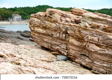 Geopark layers of sedimentary rock, in Tung Ping Chau, Hong Kong