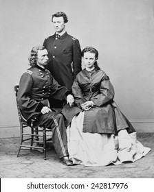 George Armstrong Custer, seated with his wife Elizabeth and his brother, Thomas W. Custer. Several movies have been based on his military exploits and death at the Battle of Little Bighorn.