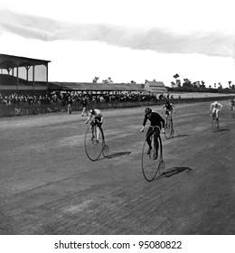 George Barker, c1890, Niagara Falls, NY, USA: Boneshaker bicycle racers at the finish line. Vintage Photo. (c) 2011 Bicycle Race