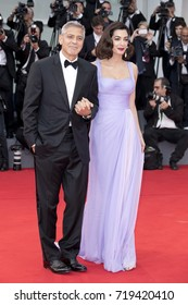 George Clooney and Amal Clooney on the red carpet of the 'Suburbicon' screening during the 74th Venice Film Festival at Sala Grande in Venice, Italy.