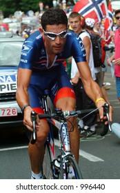 George Hincapie on the  Alpe D'Huez Time Trial Tour de France 2004