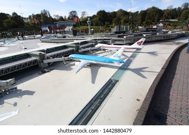 George Maduroplein, The Hague, The Netherlands, October 17, 2009. Replica of Amsterdam Airport Schiphol in Madurodam Den Haag amusement park has been built at a scale of 1:25.