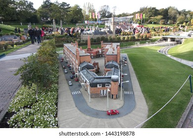 George Maduroplein, The Hague, The Netherlands, October 17, 2009. Madurodam miniature park is known for its scenic beauty. People look at the miniature buildings in the open air museum Den Haag,