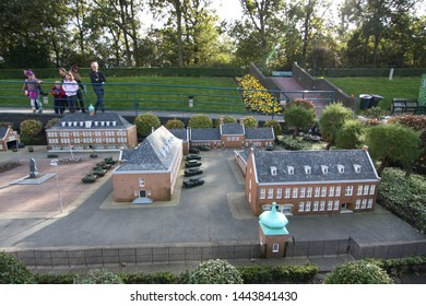 George Maduroplein, The Hague, The Netherlands, October 17, 2009. People look at the miniature buildings in Madurodam park museum that was built of 1:25 scale model replicas of famous Dutch landmarks.