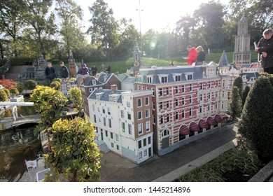George Maduroplein, The Hague, The Netherlands, October 17, 2009. People look at the miniature buildings in Madurodam park museum, that is built in 1:25 scale model replicas of famous Dutch landmarks