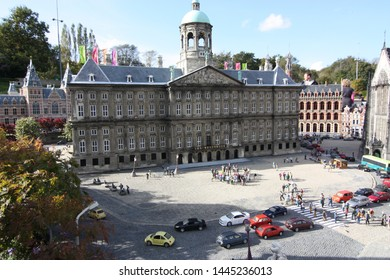 George Maduroplein, The Hague, The Netherlands, October 17, 2009. Replica of The Royal Palace Amsterdam in Madurodam park. The Palace is the largest and prestigious building from the Golden Age.