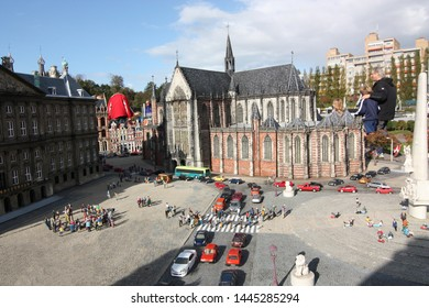 George Maduroplein, The Hague, The Netherlands, October 17, 2009. Replica of Nieuwe Kerk Amsterdam in Madurodam. The Nieuwe Kerk, New Church is located in Dam Square next to Royal Palace Amsterdam.