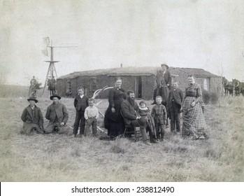 George O. Waters family, Dry Valley, near Comstock Nebraska. 1887