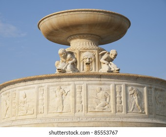 George Scott Memorial fountain in Detroit Michigan USA is on Belle Isle in the Detroit River. It is a beautiful marble water fountain built in 1925