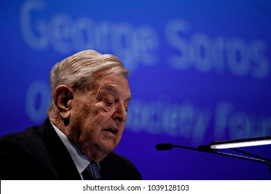 George Soros, Founder and Chairman of the Open Society Foundation gives a speech during Economic Forum in Brussels, Belgium on June 1, 2017