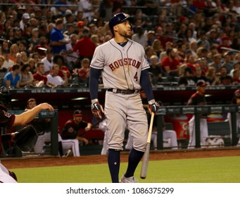 George Springer  outfielder for the Houston Astros at Chase Field in Phoenix,AZ USA  May 5,2018.