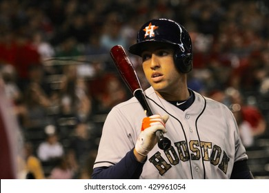George Springer right fielder for the Houston Astros at Chase Field in Phoenix AZ USA 5-30-16.