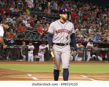 George Springer right fielder for the Houston Astros at Chase Field in in Phoenix AZ USA August 14,2017.