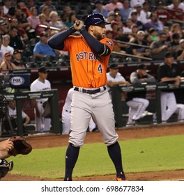 George Springer right fielder for the Houston Astros at Chase Field in Phoenix,AZ USA August 15,2017.