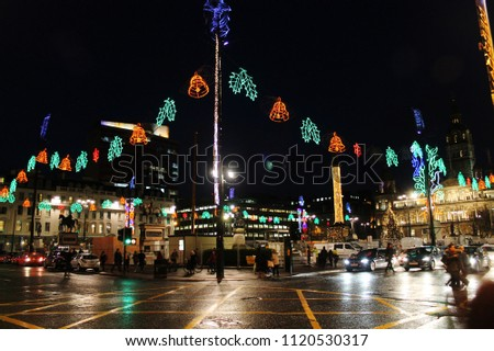 George Square Christmas Lights in Glasgow. Bonnie Scotland. - George Square Christmas Lights Glasgow Bonnie Stock Photo (Edit Now