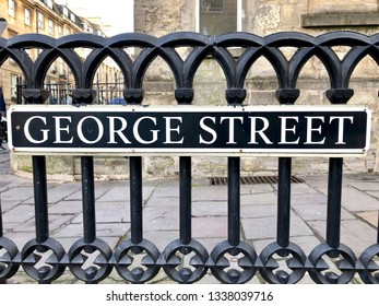 """""""George street"""" sign on a metal fence in Bristol, UK"""