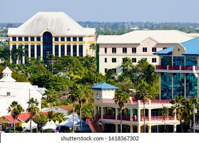 George Town, cayman island/grand cayman-2/7/2019: close up view of waterfront hotels an restaurants in coastal city of George Town
