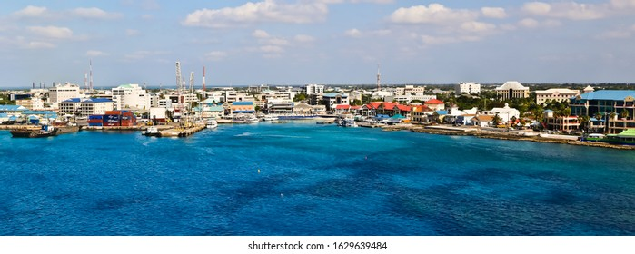 George Town, cayman island/grand cayman-2/7/2019: top view of beautiful coastal city of George Town