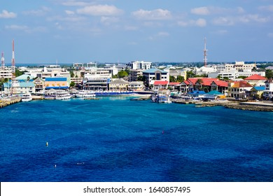 George Town, Cayman Islands/grand cayman-2/7/2019: top view of cityscape and harbor of George Town