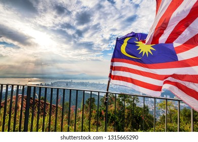 George Town city view from Penang Hill with Malaysia Flag