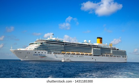 GEORGE TOWN - February 16: Costa Deliziosa visiting George town on the cruise in Caribbean sea on February 16, 2019 in George town, Cayman islands. George town is major cruise destination on Cayman.