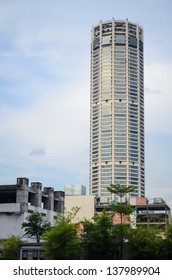 GEORGE TOWN, MALAYSIA - APR 5: Komtar Tower building on April 5, 2013 in George Town, Malaysia. The skyscraper is 231m tall and is the 6th tallest building in Malaysia.