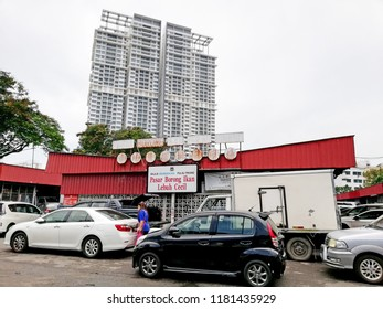 GEORGE TOWN, MALAYSIA - AUG 17, 2018: Facade of Cecil Street Wholeshale fish market in Lebuh Cecil, Penang. The market complex serves as the main wholesale fish market in Penang.