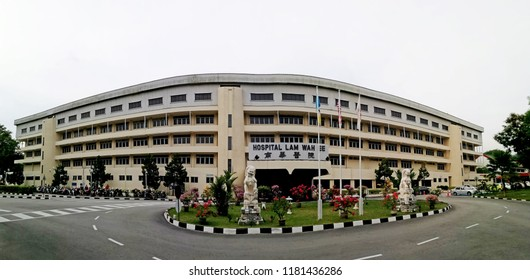 GEORGE TOWN, MALAYSIA - AUG 27, 2018: Panoramic view of Lam Wah Ee Hospital in Jalan Masjid Negeri, Penang. The medical facilities was established in 1883 as a non-profit private hospital.