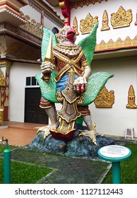GEORGE TOWN, MALAYSIA - DECEMBER 10, 2013: Statue of the legendary Garuda, mythical king of birds in front of a Burmese Temple in George Town, Penang, Malaysia