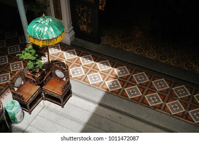 GEORGE TOWN, MALAYSIA - JULY 6: Penang Peranakan Mansion is a museum containing antiques and displaying Peranakans (Half Chinese and Malay people) customs on July, 6 2017 in Penang State, Malaysia.