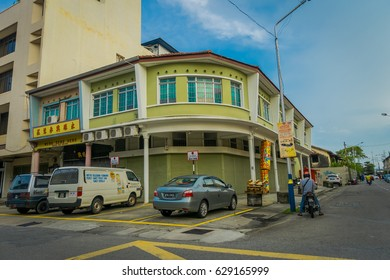 George Town, Malaysia - March 10, 2017: Streetscape view of buildings and daily life of the second largest city in Malaysia.