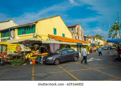 George Town, Malaysia - March 10, 2017: Little India enclave, where the oldest Hindu temple in Penang is located, Mahamariamman Temple, as well as where many indian shops and restaurants.