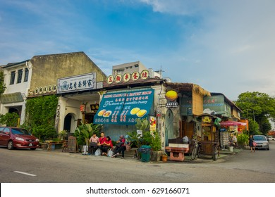 George Town, Malaysia - March 10, 2017: Streetscape view of shops and daily life of the second largest city in Malaysia.