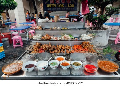 George Town, Malaysia - March 22, 2016: Lok-Lok steamboat stall at the Kimberly Street Food Market, George Town, Penang, Malaysia.