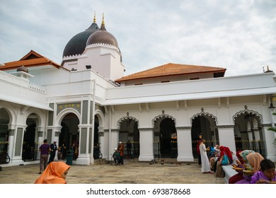 George town, Malaysia - September 2016: Exterior of Kapitan Keling Mosque, George Town, Penang, Malaysia. Kapitan Keling is a mosque built in the 19th century and a popular tourist sight