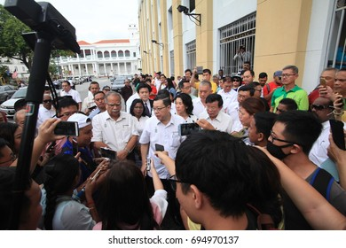 George Town, Penang, August 2017 : Penang State Government members protesting in front of Magistrates Court in conjunction of the arrest of EXCO member