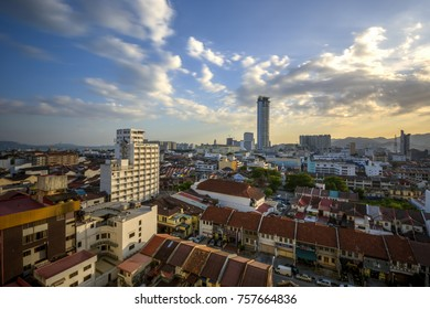 GEORGE TOWN, PENANG ISLAND, MALAYSIA - 25 FEB 2016 : Landmark of George Town city before sunset