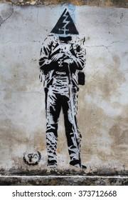 George Town, Penang, Malaysia - 04 February 2016: Street art mural