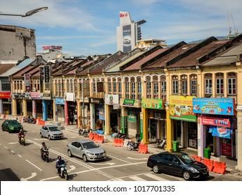 GEORGE TOWN, PENANG, MALAYSIA - 2018 JANUARY 10: a view of Jalan Perak Street