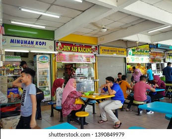 GEORGE TOWN, PENANG, MALAYSIA - APR 28, 2019: Stalls in the Padang Kota Lama Food Court in Esplanade. One of the top tourist attractions in Penang.