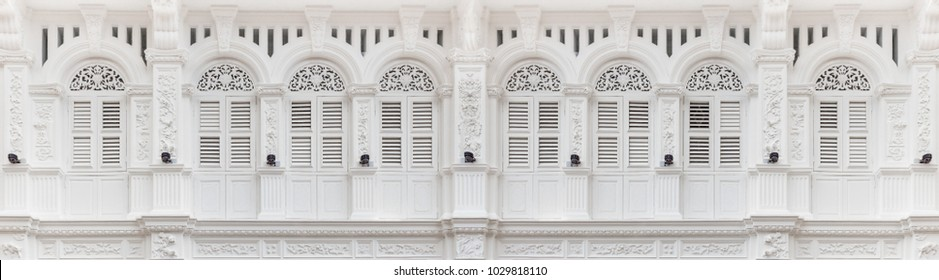 George Town, Penang, Malaysia - August 3, 2015 : Colonial old building white toned color facade on Georgetown, Penang, Malaysia
