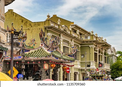 George Town, Penang, Malaysia - Dec 8, 2017: Facade of the Yap Kongsi Temple and old colonial building in George Town, Malaysia.