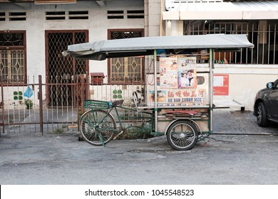 GEORGE TOWN, PENANG, MALAYSIA - FEB 10, 2018: A vintage street food vendor mobile stall in Kuantan Street. Penang is a street food tourist destination.
