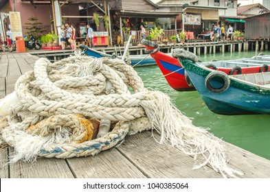 GEORGE TOWN, PENANG / MALAYSIA- FEBRUARY, 2018: View of famous Chew Jetty, a  unesco heritage site and popular tourist attraction in Penang