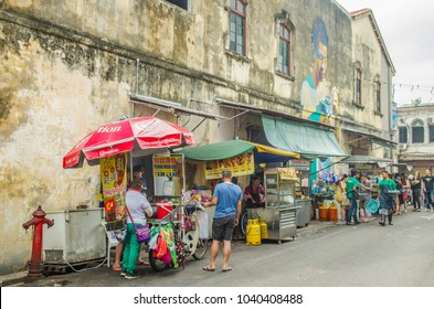 """GEORGE TOWN, PENANG / MALAYSIA- FEBRUARY, 2018: One of many street food market stalls in Penang, this one is famous for the """"Cendol or Chandal'' dessert"""